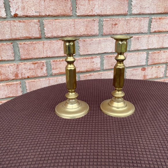 Pair of Vintage Brass Candleholders
